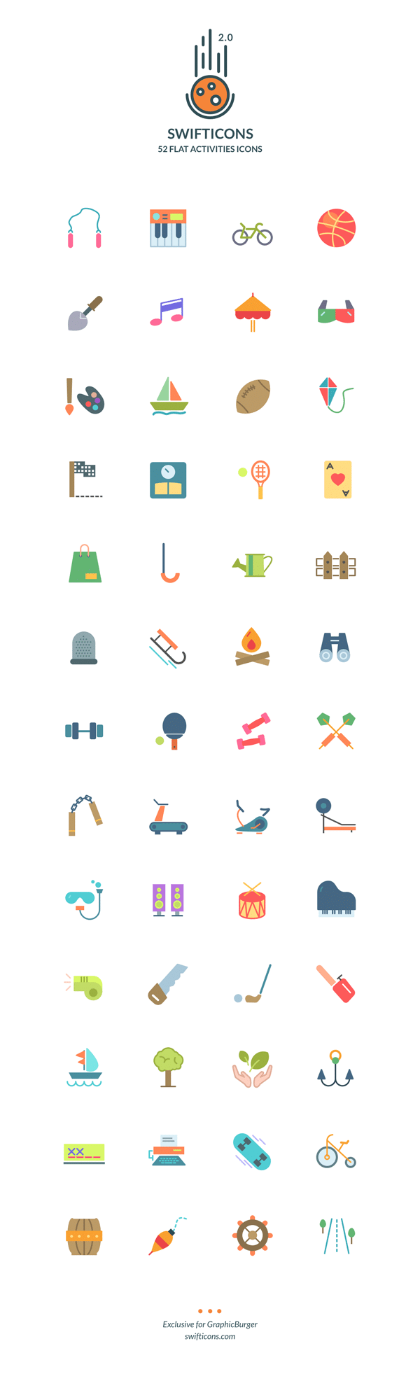 52 Flat Activities Icons Free
