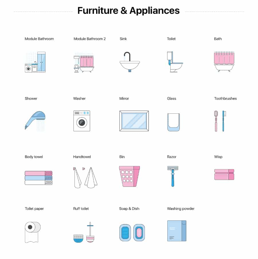 Bathroom Furniture Icons Collection