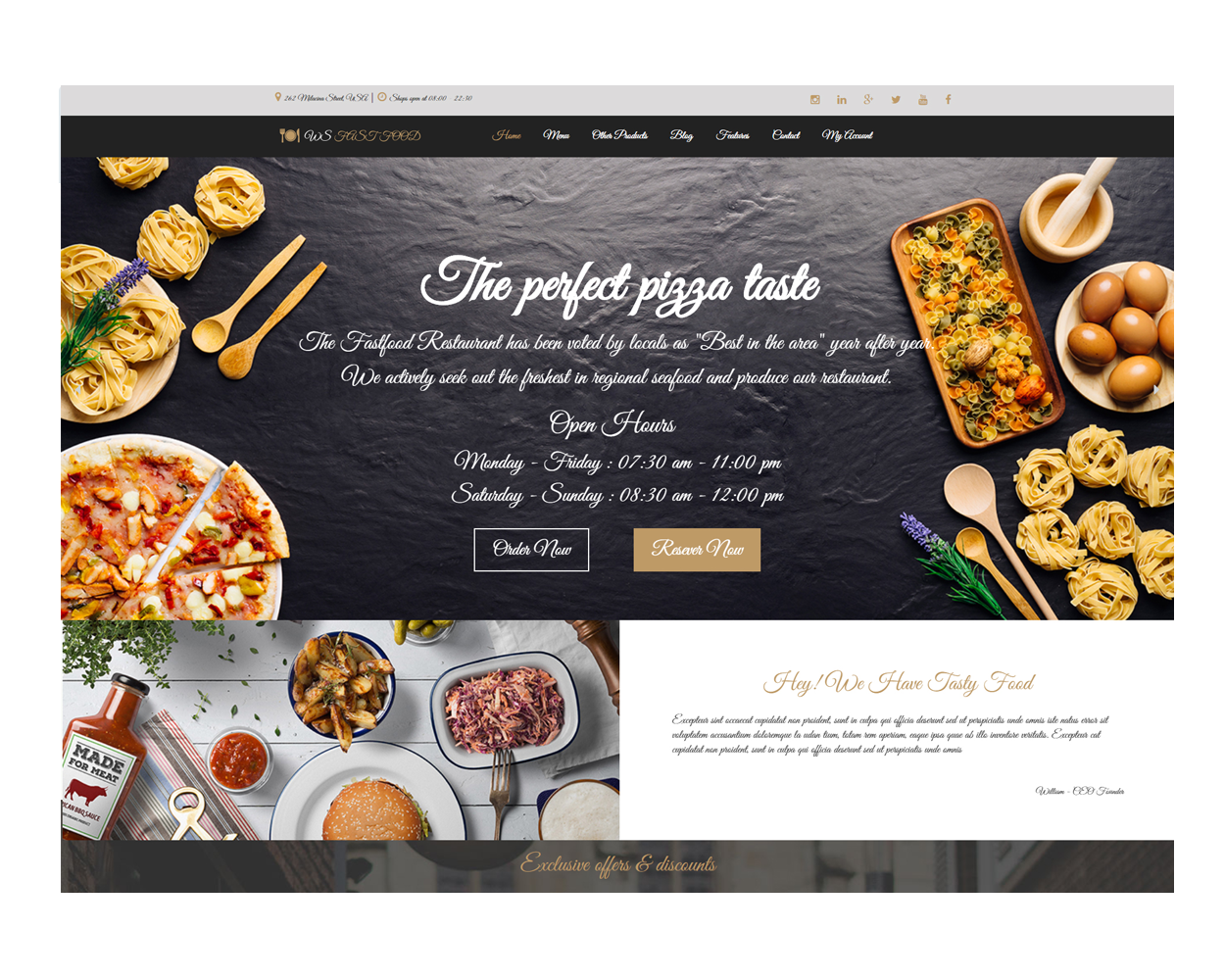 Ws fast food free responsive food order woocommerce for Cuisine site