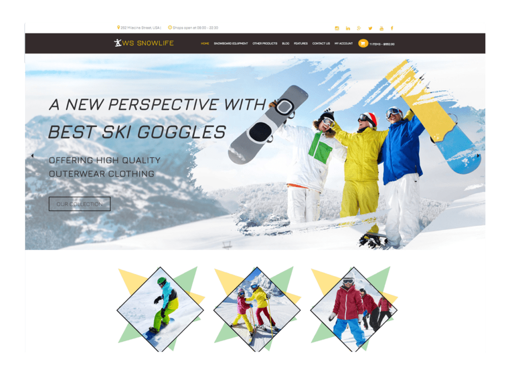 Ws snowlife free responsive snowboarding clothing stores for Wordpress t shirt store theme free