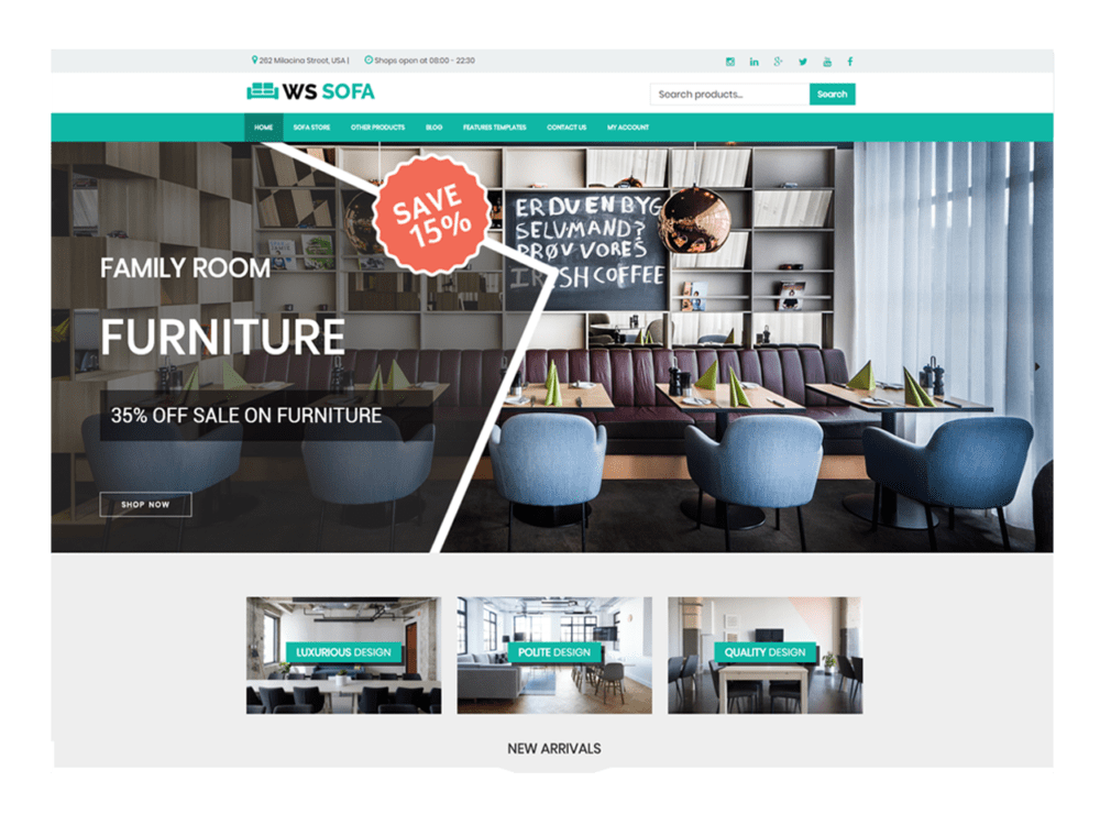 Ws Sofa Free Responsive Interior Woocommerce WordPress Theme