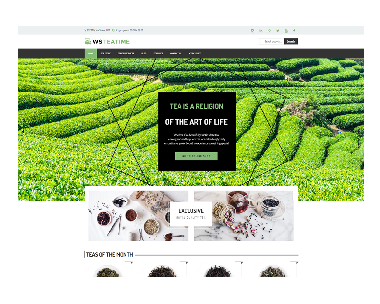 Ws Teatime Free Responsive Tea Shop Woocommerce Wordpress Theme