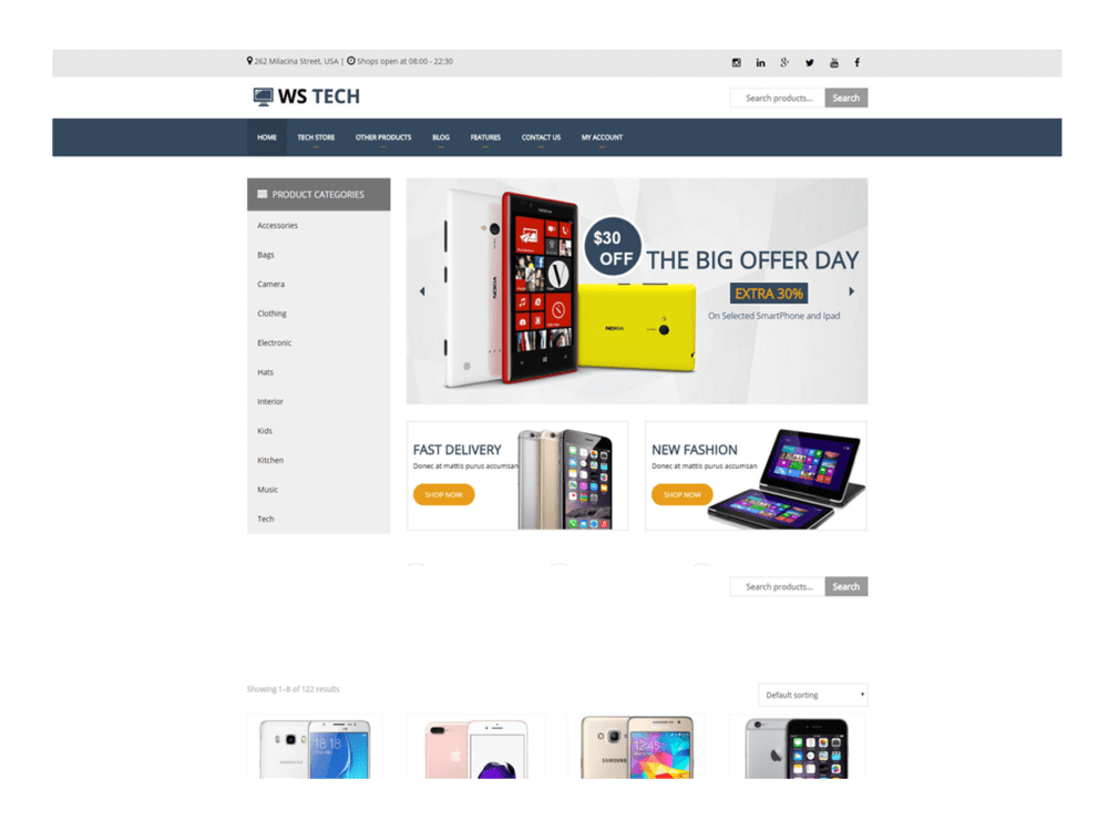 WS Tech – Free Responsive Hi-Tech Store WooCommerce Wordpress theme ...